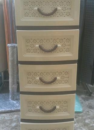 Пластиковый комод, шкафчик, органайзер, тумбочка, тумба на 5 ящик
