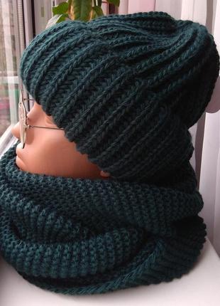 Новый комплект: шапка и хомут-восьмерка, темно-зеленый