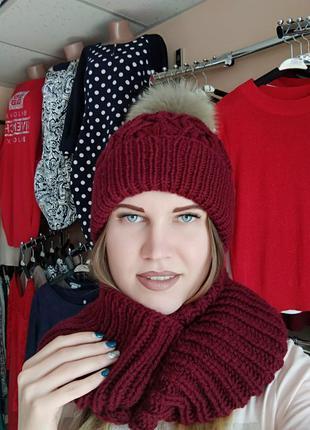 Женский зимний комплект - шапочка + снуд