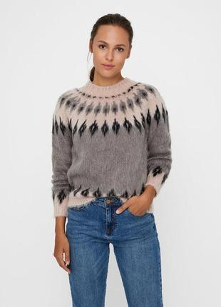 Женский свитер меланж/серый/черный vero moda, размер xs