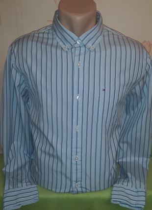 Голубая рубашка в полоску tommy hilfiger 80's 2 ply custom fit...