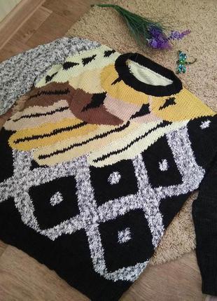 Фантазийный лонгслив свитер оверсайз джемпер пуловер hand made
