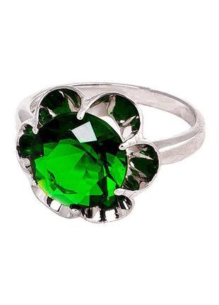 Кольцо из серебра с покрытием из родия «зеркало» с фианитом цв...