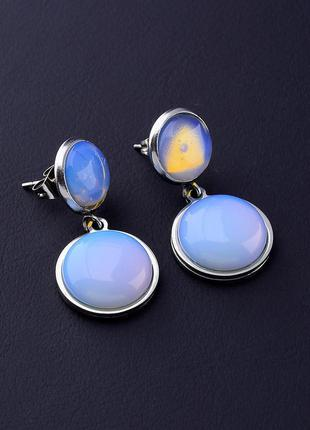 Серьги 'stainless steel' лунный камень 0618120