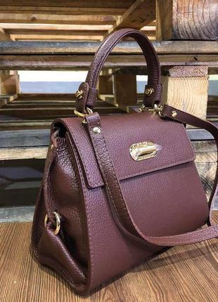 Стильная кожаная сумка-портфель коричневая среднего размера ve...