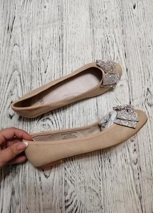 Туфли балетки с блестящим бантом faith asos