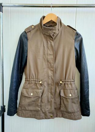 Пальто осеннее/плащ с кожаными рукавами h&m