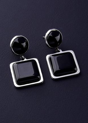 Серьги 'stainless steel' агат 0617750