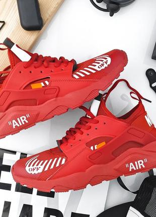 Nike air huarache off-white red, мужские крутые кроссовки найк...