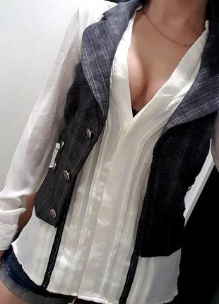 Жилетка s-m серая летняя стильная поверх блузки париж топ укор...