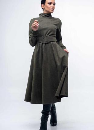 Платье расклешенное оригинальное цвета хаки new2020