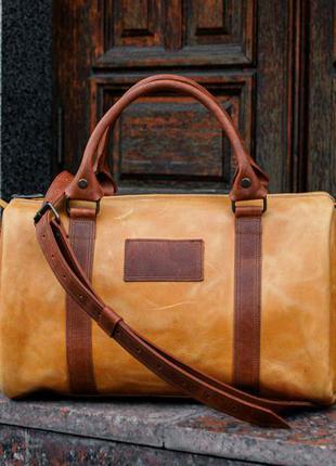 Коричневая женская дорожная сумка, кожана спортивная сумка - с...
