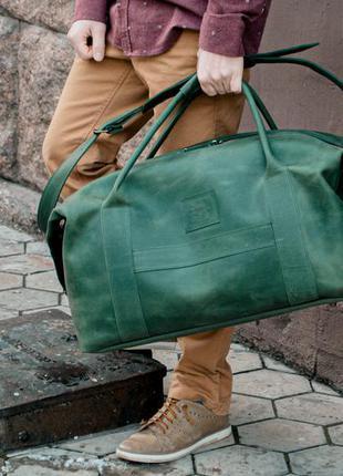 Дорожная зеленая сумка, кожаная спортивная сумка большая