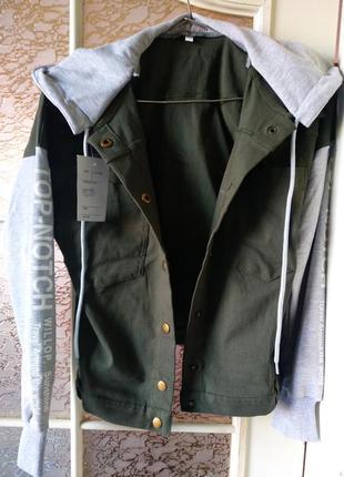 Джинсовая куртка с капюшоном пиджак с капюшоном