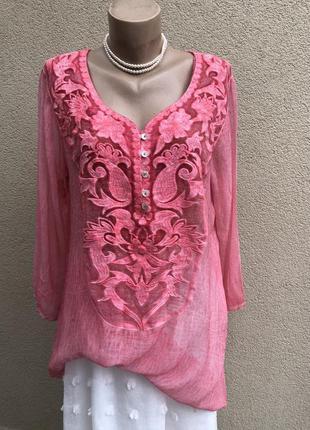 Легкая,прозрачная,розовая блуза,индия,рубаха,вышивка,туника,