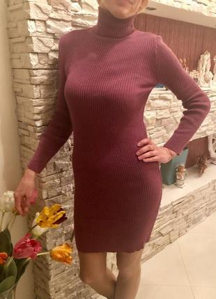 Платье вязаное гольф миди
