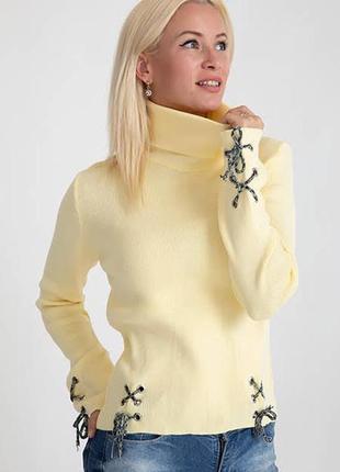 Вязаный свитер гольф. мелкая резинка. турция. распродажа