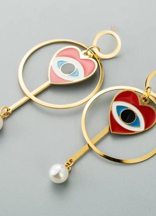 Стильные серьги кольца с сердцем/глаз/золотистый/красный/тренд...