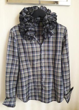 Шелковая рубашка, блуза с воланами ralph lauren,  vintage