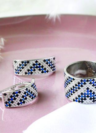 Набор серебро (кольцо и серьги)