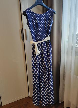 Длинное вечернее платье в горошек, размер xs