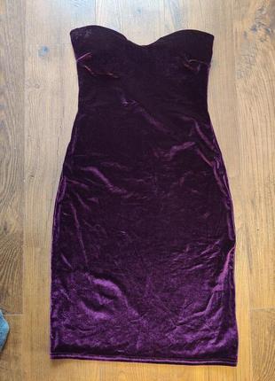 Велюровое вечернее платье boohoo (uk)