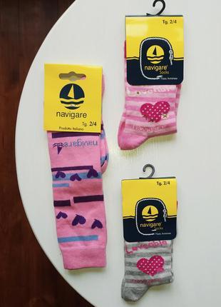 Хлопковые розовые серые высокие носки гольфы гетры для девочки