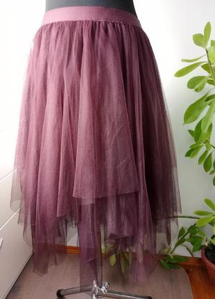 Шикарная юбка сетка на подкладке от new look