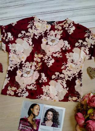 Шикарная блузка цвета бургунди в цветы размер16-18 (50-52)
