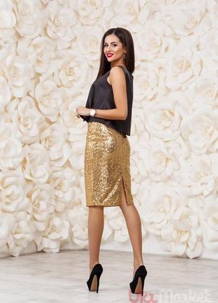 Золотистая юбка-карандаш большого р-ра бренда tu наш 52-54. но...