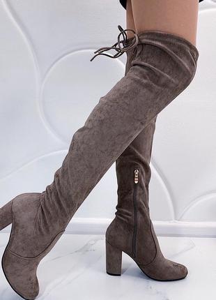 Новые шикарные женские демисезонные коричневые ботфорты сапоги