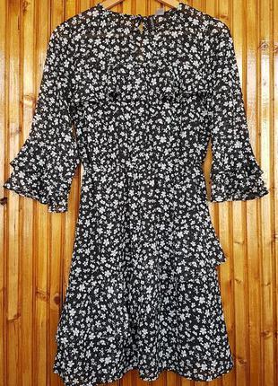 Красивое шифоновое платье h&m с оборками