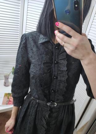 Платье чёрное с кружевом betsey johnson, p-p uk 6