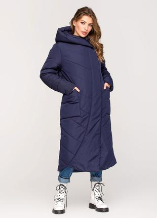 Длинная зимняя женская куртка одеяло синяя, черная, хаки