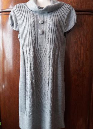 Серое теплое вязаное туника-платье-косы10-12 марокко  #412