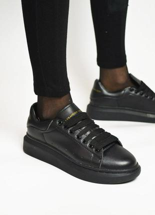 Alexander mcqueen full black, женские кеды/кроссовки маквин че...