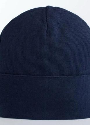 Вязаная детская шапка с отворотом темно-синяя джеймс