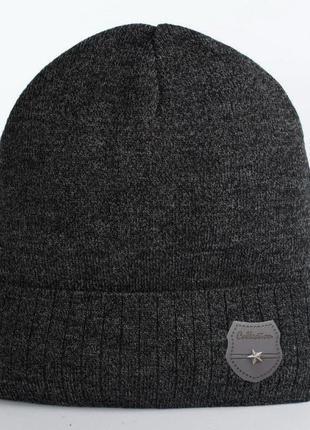 Вязаные шапки для подростков сталкер антрацит меланж