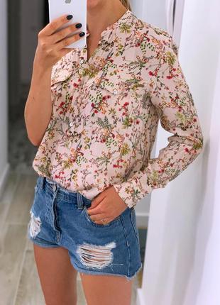 Блузка zara в цветочный принт