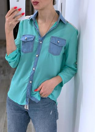 Рубашка мятного цвета