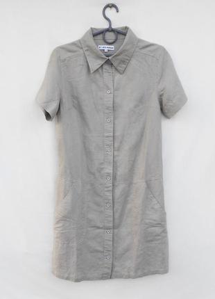 Летнее базовое льняное платье рубашка с коротким рукавом