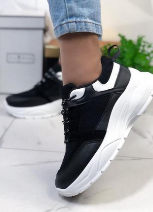 Кроссовки черные на белой подошве женские