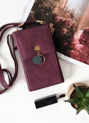 Женская сумка кошелек чехол для телефона: бургунди