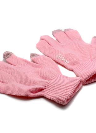 Перчатки сенсорные, для сенсорных телефонов и планшетов розовые