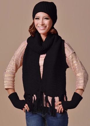Женский комплект шапка, шарф, перчатки черный