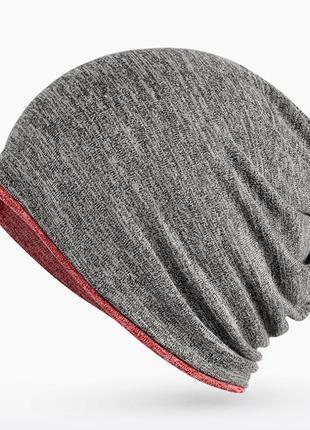 Шапка-шарф-снуд мужская / женская серая с красным 2136