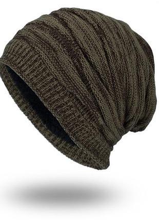 Шапка зимняя теплая хаки , мужская / женская 2138
