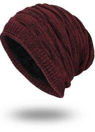 Зимняя шапка бини с подкладкой: 2 цвета, мужская/женская