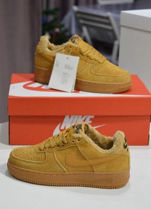 Nike air force fur low brown, женские стильные зимние кроссовк...