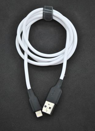 Кабель Usb Lightning 4you Dnister white (2.4A, 1м, Silicone Pe...